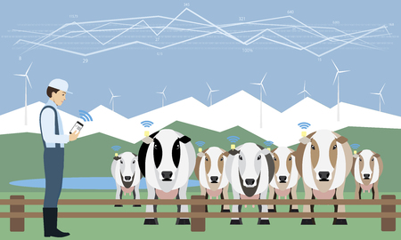 Dairy production illustration. Illustration