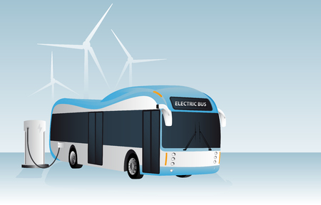 Electric bus is charging at the charging station. In the background wind generators vector illustration.