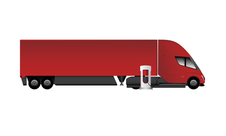 Modern electric truck charging at the supercharging station. Vector illustration EPS 10 Illustration