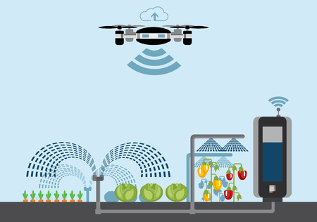 Internet of things in agriculture. Smart farm with wireless drone control. Vector illustration. Stock Illustratie