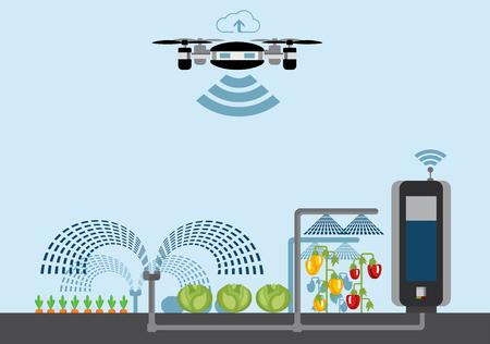 Internet rzeczy w rolnictwie. Inteligentna farma z bezprzewodowym sterowaniem dronami. Ilustracji wektorowych.