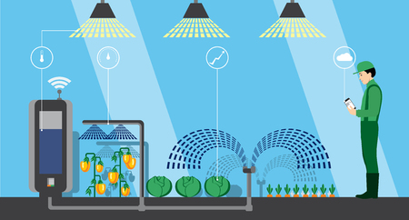 Internet der Dinge in der Landwirtschaft . Smart Farm mit drahtloser Kontrolle