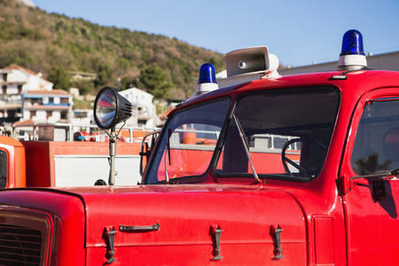 Close-up of a retro fire truck cabin