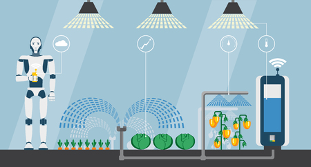 Internet of things in agriculture. Smart farm with artificial intelligence control. Vector illustration EPS 10