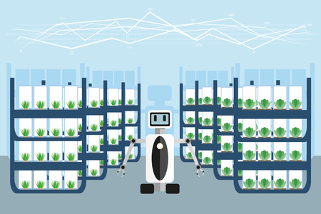 Robot in the greenhouse. Vector illustration of artificial intelligence. Internet of things in agriculture.