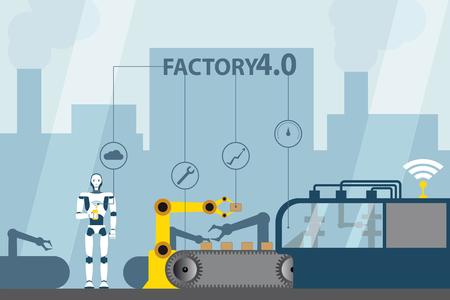 モノの産業インターネット。現代のデジタル工場4.0 .ベクトル図 EPS 10.