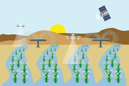 Internet of things in agriculture. Smart farm with wireless control. Vector illustration.