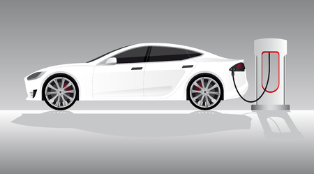 White electric car with charging station vector illustration.