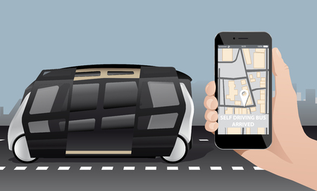 Control of self driving bus by mobile app. Vector illustration EPS 10