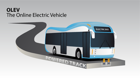 Online electric vehicle. Bus on a powered track with contactless induction charging Illustration