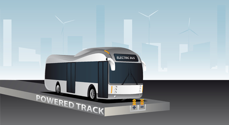 Online electric vehicle. Bus on a powered track with contactless induction charging Vettoriali