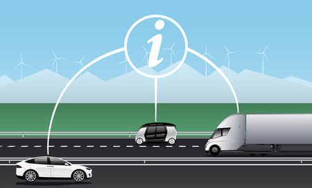 Vehicle to vehicle communication. Data exchange between self driving cars. Vector illustration Stock Illustratie