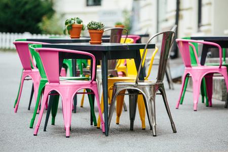 Open-air restaurant on the street of the European city Stock Photo