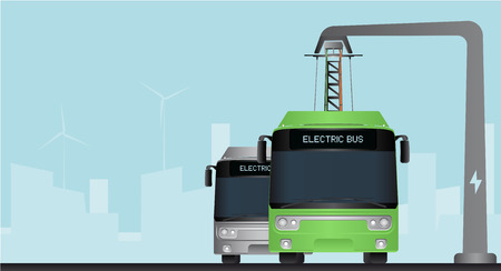 Green and grey electric bus in a city with a blue background
