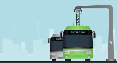 Bus elettrico verde e grigio in una città con uno sfondo blu Vettoriali