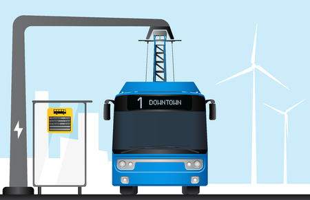 Illustration of a blue electric bus charged by a pantograph