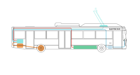 Scheme of the elements of the electric bus. Vector illustration