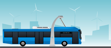 Blue electric bus at a stop is charged by pantograph. Vector illustration EPS 10 Illustration