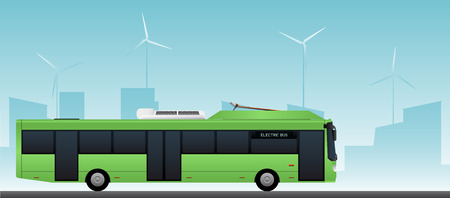 Green electric bus at a stop is charged by pantograph vector illustration.