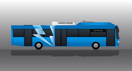 Blue electric bus with lightning symbol on board. Vector illustration EPS 10.
