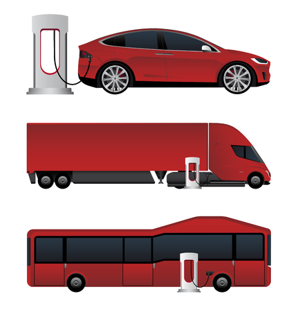 Set of electric vehicles. Bus, truck and car are charging from charging stations. Vector illustration EPS 10