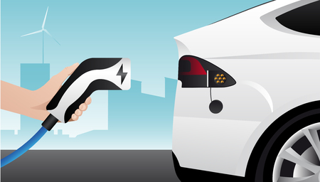 Hand with charging plug. Charging an electric car. Vector illustration.