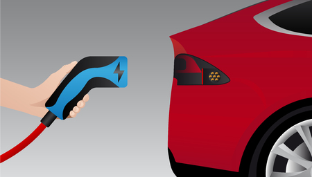 Hand with charging plug. Charging an electric car. Vector illustration Ilustracja