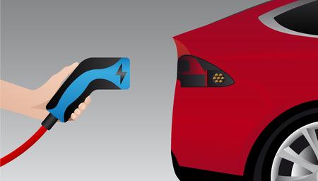 Hand with charging plug. Charging an electric car. Vector illustration Ilustração