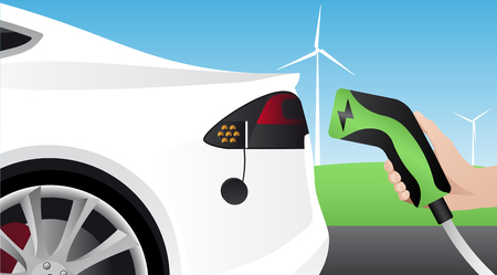 Hand with charging plug Charging an electric car Vector illustration