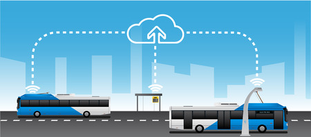 Data exchange between public transport and cloud service. Management of passenger transportation. Vector illustration