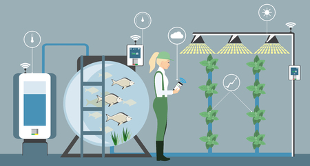 Growing plants on the field. Smart farm with wireless control. Illustration