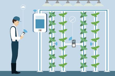 Growing plants on the field. Smart farm with wireless control. Çizim