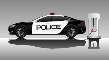 Electric police car illustration.