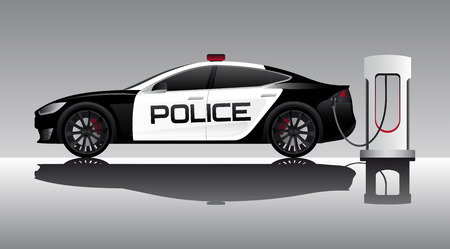 Electric police car illustration.