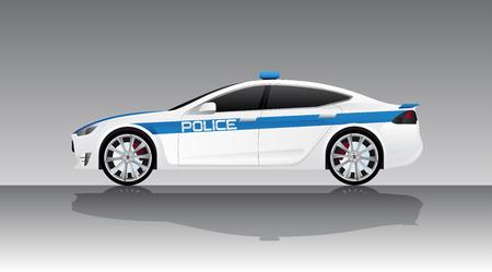 Electric police car. Vector illustration EPS 10 Illustration