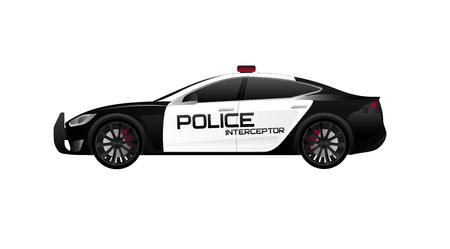 Electric police car. Vector illustration EPS 10 Illustration