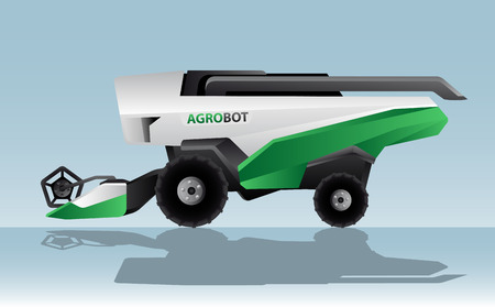 Autonomous combine harvester. Agrobot. Vector illustration
