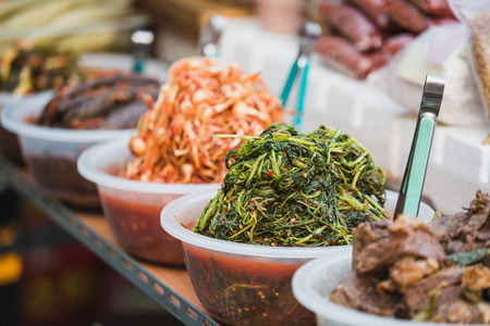 Eastern delicacies on sale at a street market in Seoul, South Korea. Stock Photo