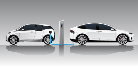 Two white electric cars with charging station. Vector illustration Illustration