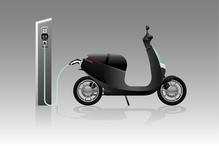 Electric scooter for sharing with charging station. Vector illustration Illustration