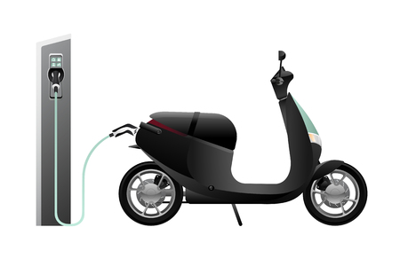 Electric scooter for sharing with charging station. Vector illustration Banque d'images - 111794063