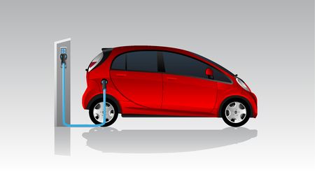 Red electric car with charging station. Vector illustration