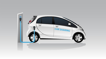 White carsharing electric car with charging station. Vector illustration Illustration