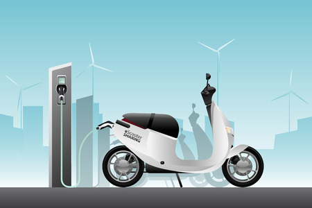 Electric scooter for sharing with charging station. Vector illustration Çizim