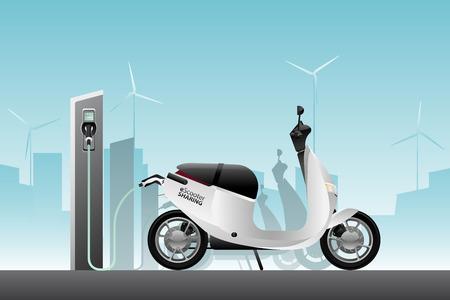 Patinete eléctrico para compartir con estación de carga. Ilustración vectorial