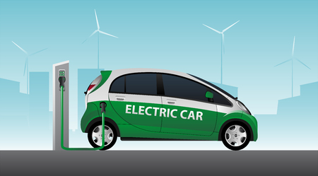 Electric car with charging station. Vector illustration