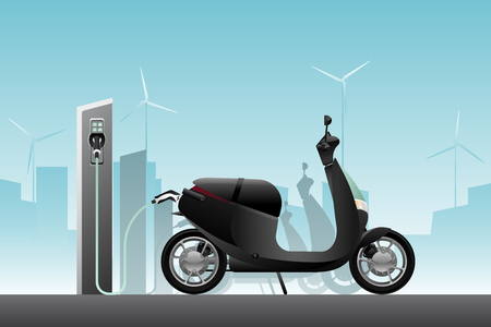 Electric scooter for sharing with charging station. Vector illustration Banque d'images - 111794100