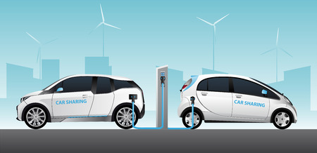 Two carsharing white electric cars with charging station. Vector illustration Illustration