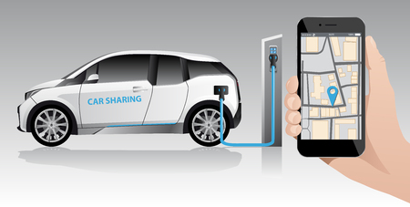 Hand with phone on a background of white carsharing electric car with charging station. Vector illustration Illustration