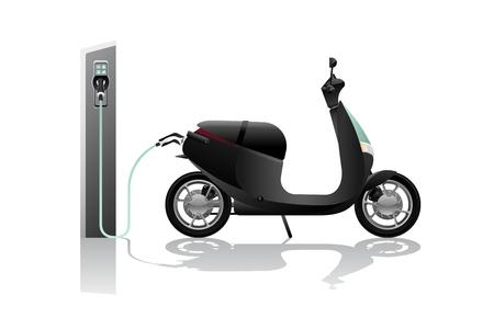 Patinete eléctrico para compartir con estación de carga. Ilustración vectorial Ilustración de vector